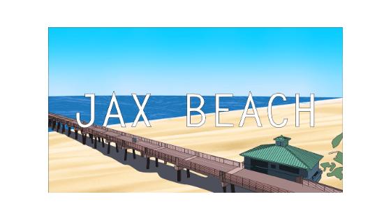 jax beach pier sticker